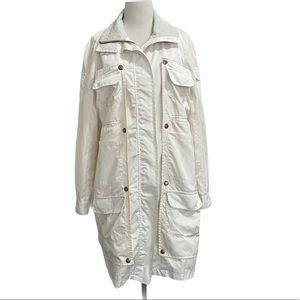 Billy Reid Cream Jacket Leather Collar Removable